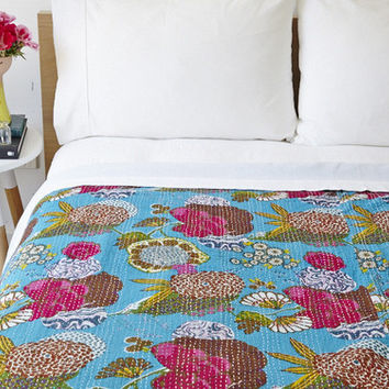 Tropical Fruit Print Blanket kantha , Reversible Bedspread Handmade Cotton Bedsheet Home Décor