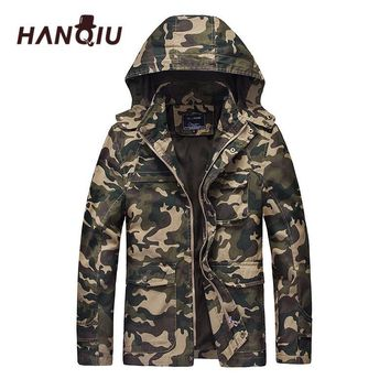 Trendy HANQIU Autumn Camouflage Military Jacket Men Hooded Slim Fit Cotton Men Camo Army Coat Fashion Homme Jacket Jaqueta Masculino AT_94_13