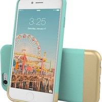 iPhone 6 Case, Flexion [Euphoria Series] Ultimate Protection Scratch Proof Soft Interior Vibrant Hard iPhone 6 Case / iPhone 6S Case (4.7) (Aqua Blue/Gold)