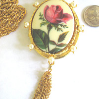 50 % Off Sale, Rare Vintage Photo Locket Pendant With A Single Rose, Goldtone Necklace With Fringe Tassel
