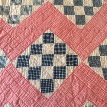 Antique Handmade Quilt Turkey Red Cobalt Blue Nine Patch Diagonal