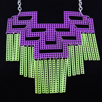 Mayan/Aztec Purple and Neon Yellow Fringe Chain Mail Bib Necklace