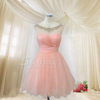 Cheap Pink Tulle Short Prom Dress, Homecoming Dress, Bridesmaid Dress, Formal Dress