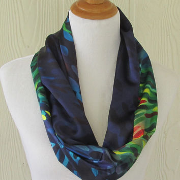 Scarf, Dark Multicolor Infinity Scarf, Circle Scarf, Loop Scarf, Necklace Scarf, Scarves, Eclectasie
