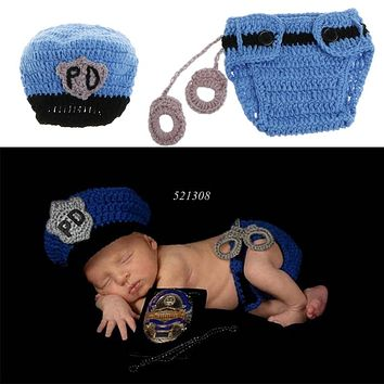 Newborn Police Design Photography Props Infant Toddler Costume Outfit Crochet