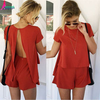 Gagaopt New 65% Cotton 35% Linen Open Back Top and Shorts set 2 piece set Summer Sexy Beach Playsuit American Apparel S0651