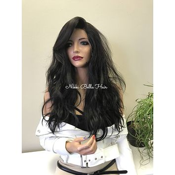 Brown Loose Wavy Human Hair Blend Deep Multi Parting Full Lace Wig - Britt