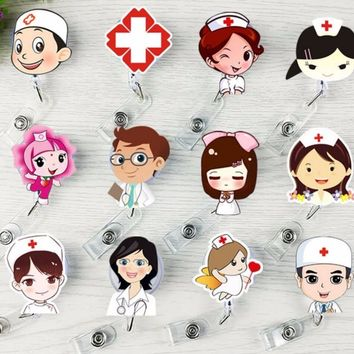 1pcs Cute Retractable Badge Reel Student Nurse Exhibition ID Name Card Badge Holder