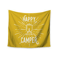 "Jackie Rose ""Happy Camper"" Yellow Typography Wall Tapestry"