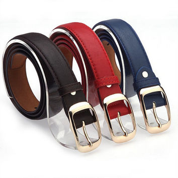 2016 Women Fashion Belts Cinturones Mujer  Ladies Faux Leather Metal Buckle Straps Girls Fashion Accessories
