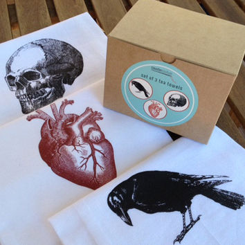 Kitchen Towel Set - Raven, Heart, Skull Flour Sack Tea Towels - Valentines Gift