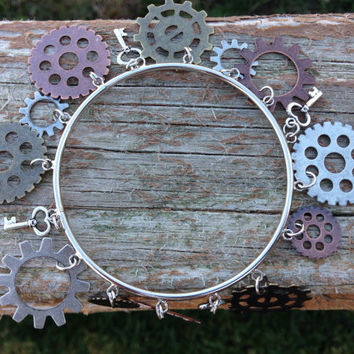 Steam punk keys and gears bangle bracelet - steam punk jewelry - birthday - christmas - holiday - gifts for her - christmas gifts for her