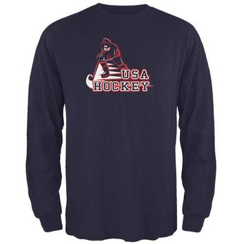 ONETOW Fast Hockey Player Country USA Mens Long Sleeve T Shirt