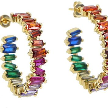 Gold Plated Luxury Women 2019 Rainbow cz Hoop Earring Colorful Jewelry