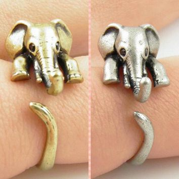 FAMSHIN 2016 New Hot Vintage lovely Anti Silver Gold Color Adjustable Elephant Wrap Rings for Women Party Gifts Free Shipping