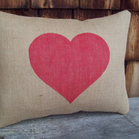 Burlap Heart Decorative Pillow Cover 12 x 16 by North Country Comforts