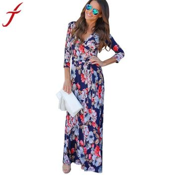 Floral Printing Sundress 2017 Summer Women V Neck Boho Long Maxi Evening Party Beach Dress Sexy v neck maxi dresses vestidos