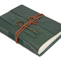 Green Leather Journal with Key Bookmark
