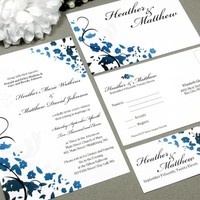 Swirl Floral Corners | Modern Wedding Invitation Suite by RunkPock Designs | Ombre Gradient Script Calligraphy Flower Invitation Design | shown in black, gray and royal cobolt blue