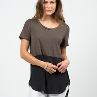 Stripey Dipped Chiffon Tee - Black