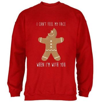 PEAPGQ9 Christmas Gingerbread Man Can't Feel My Face Mens Sweatshirt