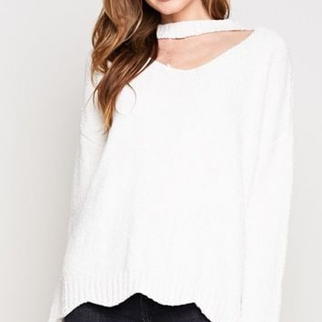 What's Your Story White Long Sleeve V Neck Choker Scallop Pullover Sweater