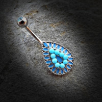 Vintage Turquoise Bead Teardrop 316L Surgical Steel Navel Ring 14ga Belly Button Ring