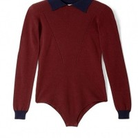 Burgundy Contrast Collar Knit Body Top by Body Editions