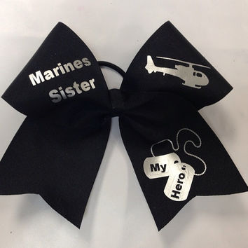 Marines Sister Cheer Bow (Customizable)