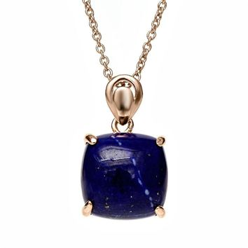 5.10 Ct Cabochon Cut Square Lapis Rose Gold Plated 925 Silver Pendant Necklace