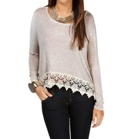 Oatmeal Crochet Long Sleeve Top