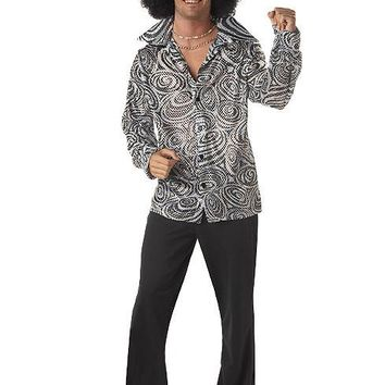 Adult Groovy Disco Shirt (Large,Silver)