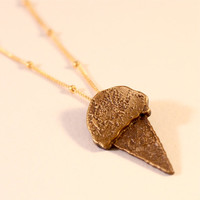 Ice-Cream Cone Necklace- Large/ Yellow Bronze Ice-Cream Cone Pendant on Goldfilled Chain/ Various Lengths Available