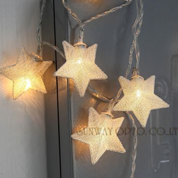 3.3M/12ft 20 LED Metal Star Fairy String Lights Battery Powered Ambience Lighting for Christmas Wedding Party Halloween Decor