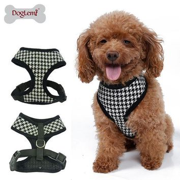 MDIGHY3 Adjustable Soft Nylon Mesh Small Dog Harness Vest Plaid Breathable Pet Cat Belt Collar & Leash Walking Safety Strap Clothes