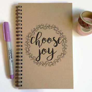 Writing journal, spiral notebook, cute diary, small sketchbook, scrapbook, memory book, 5x8 journal - Choose Joy, motivational quote journal