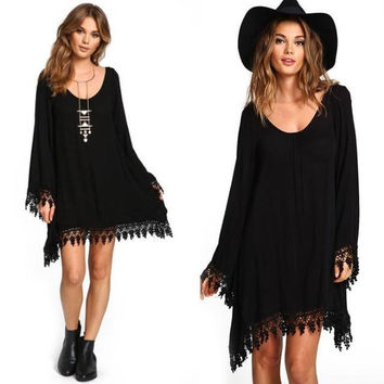 Hot Sale Autumn Patchwork Hollow Out Long Sleeve One Piece Dress [6351443908]