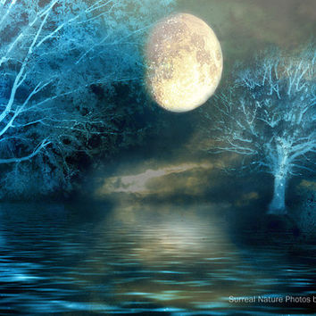 "Nature Photography, Dreamy Blue Moon Fantasy Nature, Full Moon Over Lake, Surreal Fine Art Nature Photography 9"" x 12"""