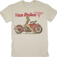 Van Halen Biker Pin Up T-shirt in available online from OldSchoolTees.com