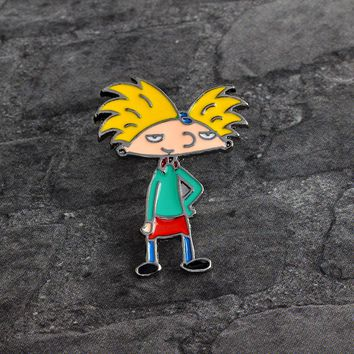 Cartoon boy Hey Arnold Brooch Metal Enamel Pin Button Denim Jacket Shirt Pin Badge Icon Fashion Jewelry for Boy Girl Kids Gift