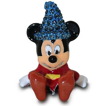 Disney Parks Mickey Sorcerer Figurine by Arribas Swarovski Jeweled Mini New with Box