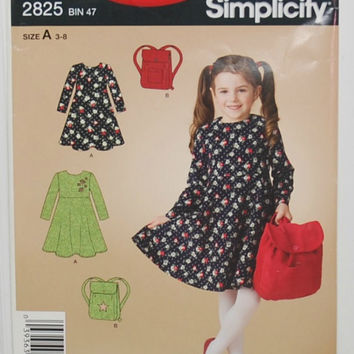 It's So Easy, It's Simplicity 2825 Sewing Pattern (c. 2008) Child Size 3-8, Child's Dress and Backpack, Girl's Dress, Summer Dress
