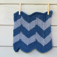 Scarf Cowl Chevron - Chunky blue - stripe luxury alpaca -  Cozy accessory  - Block color - man and woman