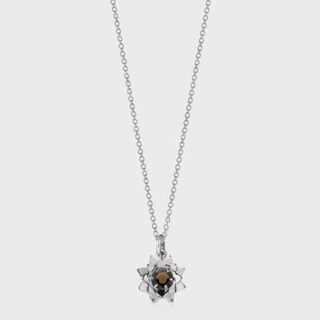 Protea Charm Necklace with Stone - silver/smokey quartz