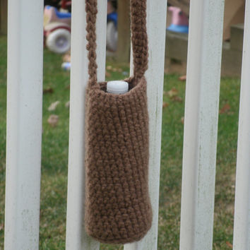 Brown Crochet Water Bottle Cozy  -- Ready to Ship