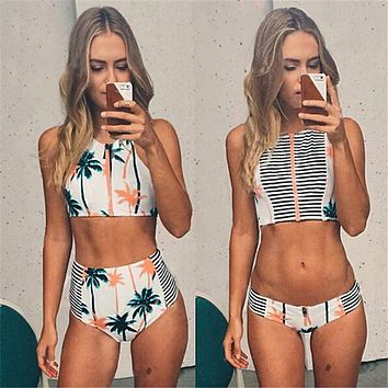 Print Floral Palm Tree Bikini Set,High Neck Tank Zipper Striped Swimsuit Padded Bra High Waist Swimwear