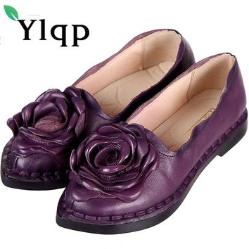 Women Genuine Leather Flat Shoes Woman Loafers 2017 New Summer Fashion Women Casual Handmade Flower Woman Flats Party Work Shoes