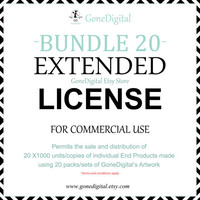 Extended License Bundle 20 License in 1 Commercial Use No Credit Permit Sale of 20x1000 Unit of an End Product Digital Paper Clipart License