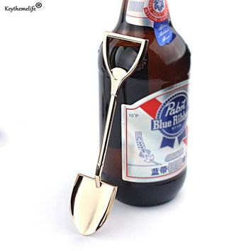 Keythemelife Creative Shovel Beer Bottle Opener Personalized Funny Stainless Steel Bottle Opener Kitchen Gadgets Bar Tools C0