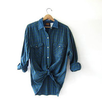 20% OFF SALE Vintage Plaid Shirt / Grunge Denim Collar Shirt / Boyfriend Shirt / Tomboy Shirt / Coed Shirt